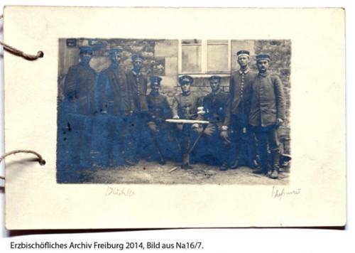 Feldgeistlicher Fridolin Mayer 28. I.D. und ehemaligen Schülern aus Schonach und einigen Theologen aus dem Konvikt in Freiburg (Romagne Verdun).