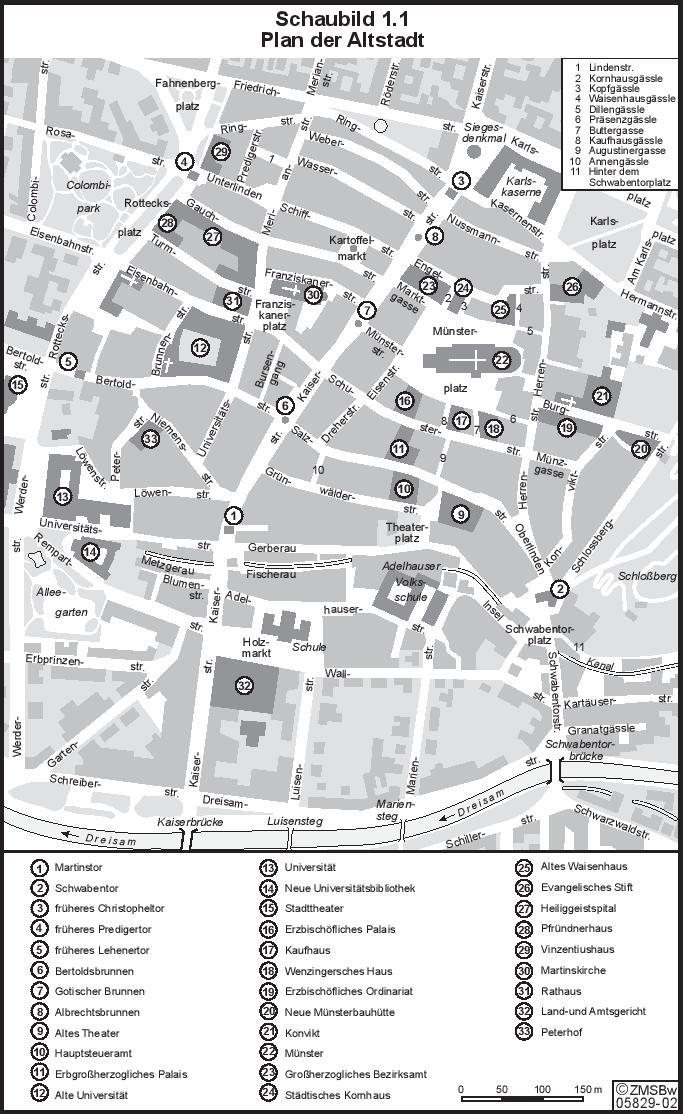 Plan der Stadt Freiburg im Ersten Weltkrieg (mit freundlicher Genehmigung des ZMS-BW)